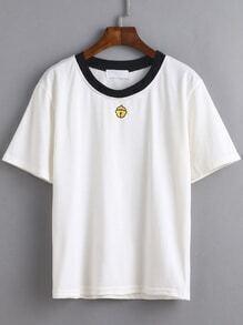 T-shirt col rond contrasté imprimé clochette - blanc