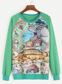 Sweat-shirt imprimé animation manche raglan - vert