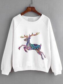 Sweat-shirt imprimé cerf manche raglan - blanc