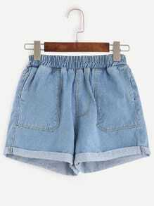 Blue Rolled Hem Elastic Waist Denim Shorts