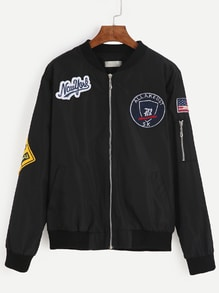 Black Embroidered Patches Zipper Bomber Jacket