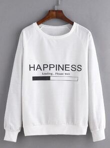 Sweat-shirt imprimé lettres manche raglan - blanc