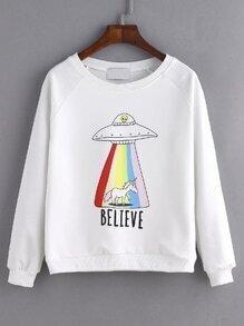 Sweatshirt Raglanärmel mit UFO Druck - weiß
