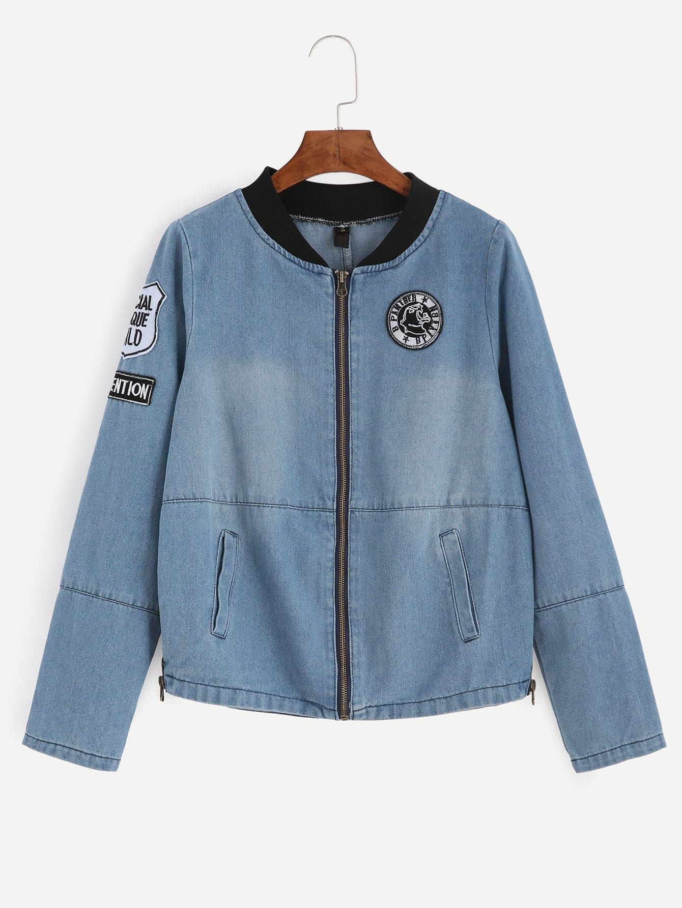 Blue Ribbed Neck Zip Up Embroidered Patch Detail Denim Jacket