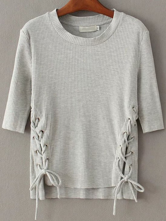 Grey Lace Up Dip Hem Ribbed Knit Sweater