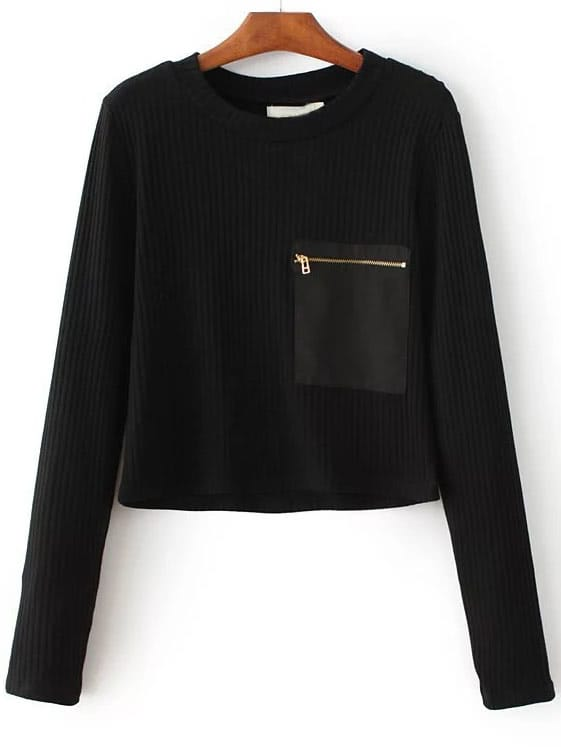Black Zipper Pocket Ribbed Knit Sweater