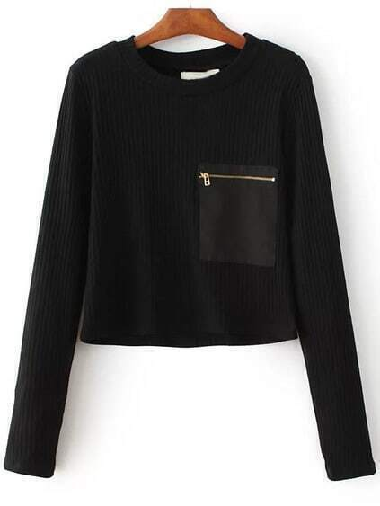 Black Zipper Pocket Ribbed Knit Sweater