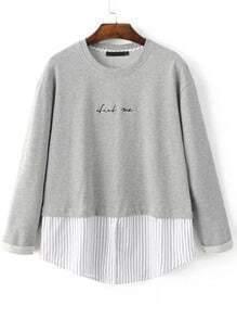Sweat-shirt motif rayures avec broderie - gris