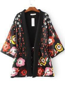 Black Floral Print Drawstring Waist Kimono