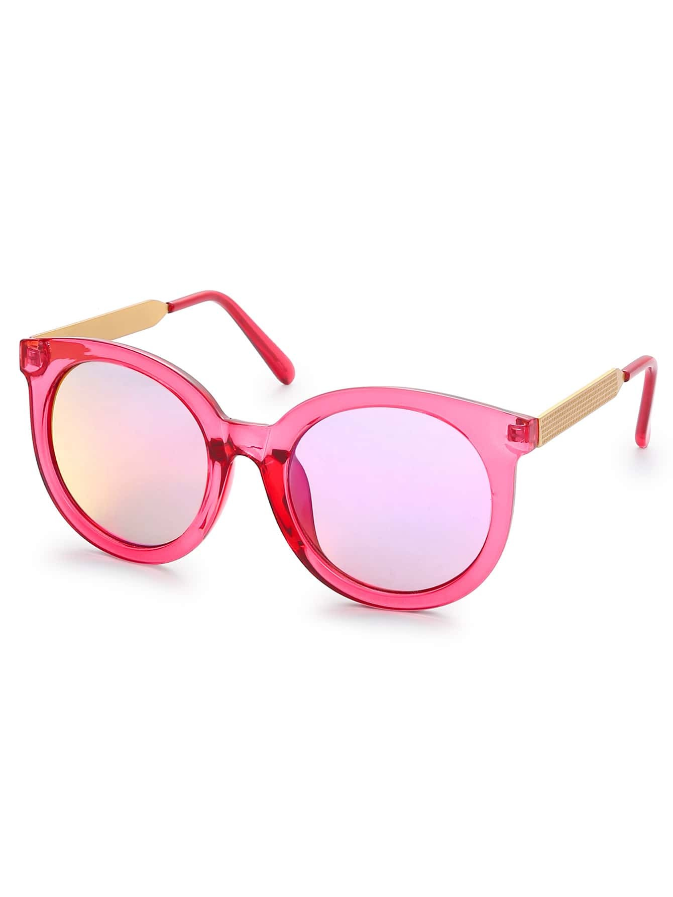 pink clear frame iridescent lens sunglasses