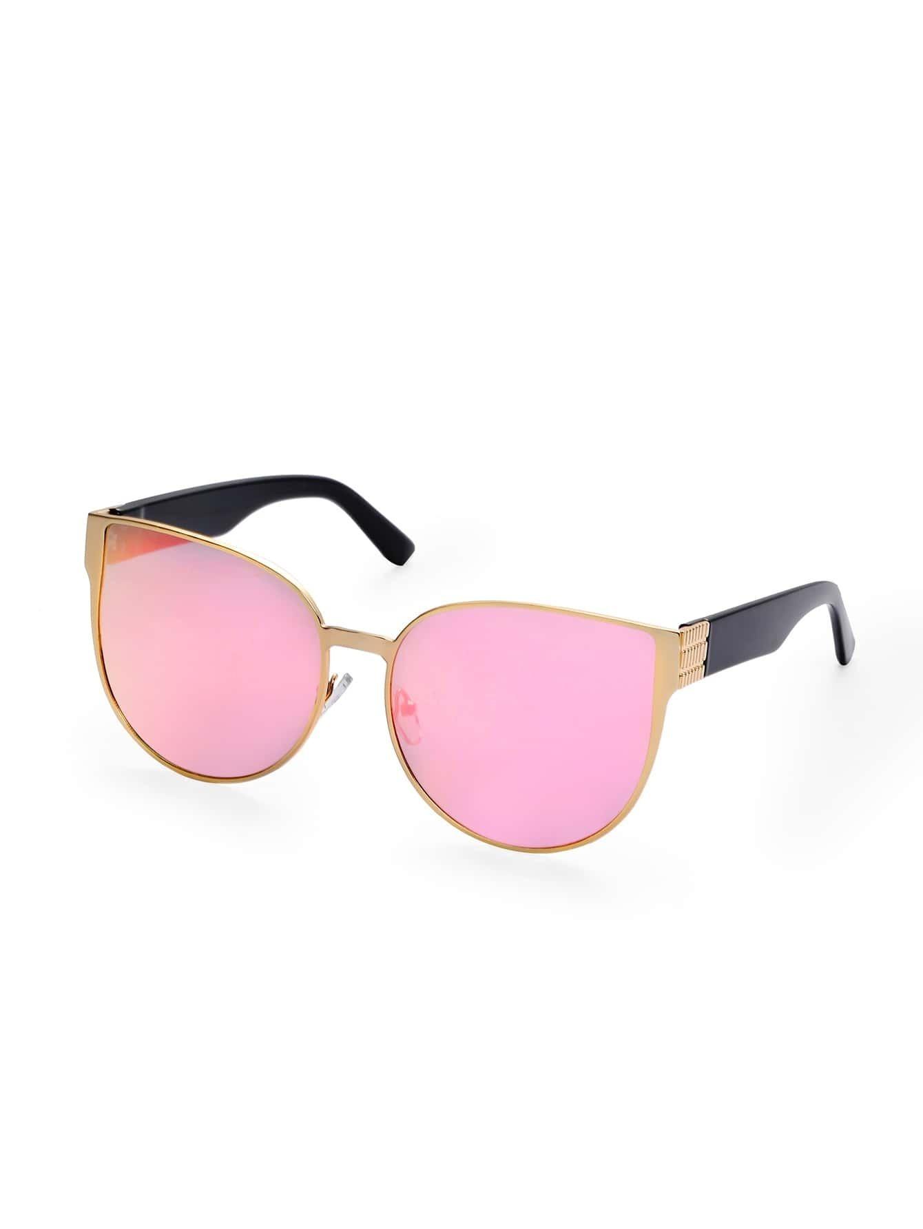 Gold Frame Cat Eye Sunglasses : Gold Metal Frame Pink Vintage Cat Eye Sunglasses