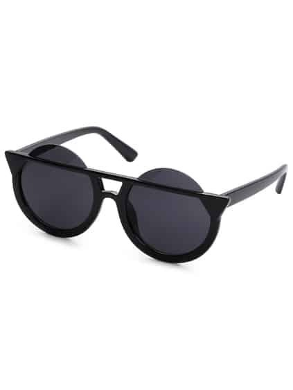 Super Dark Black Round Lens Sunglasses