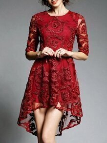 Red Sheer Gauze Disc Flowers High Low Dress