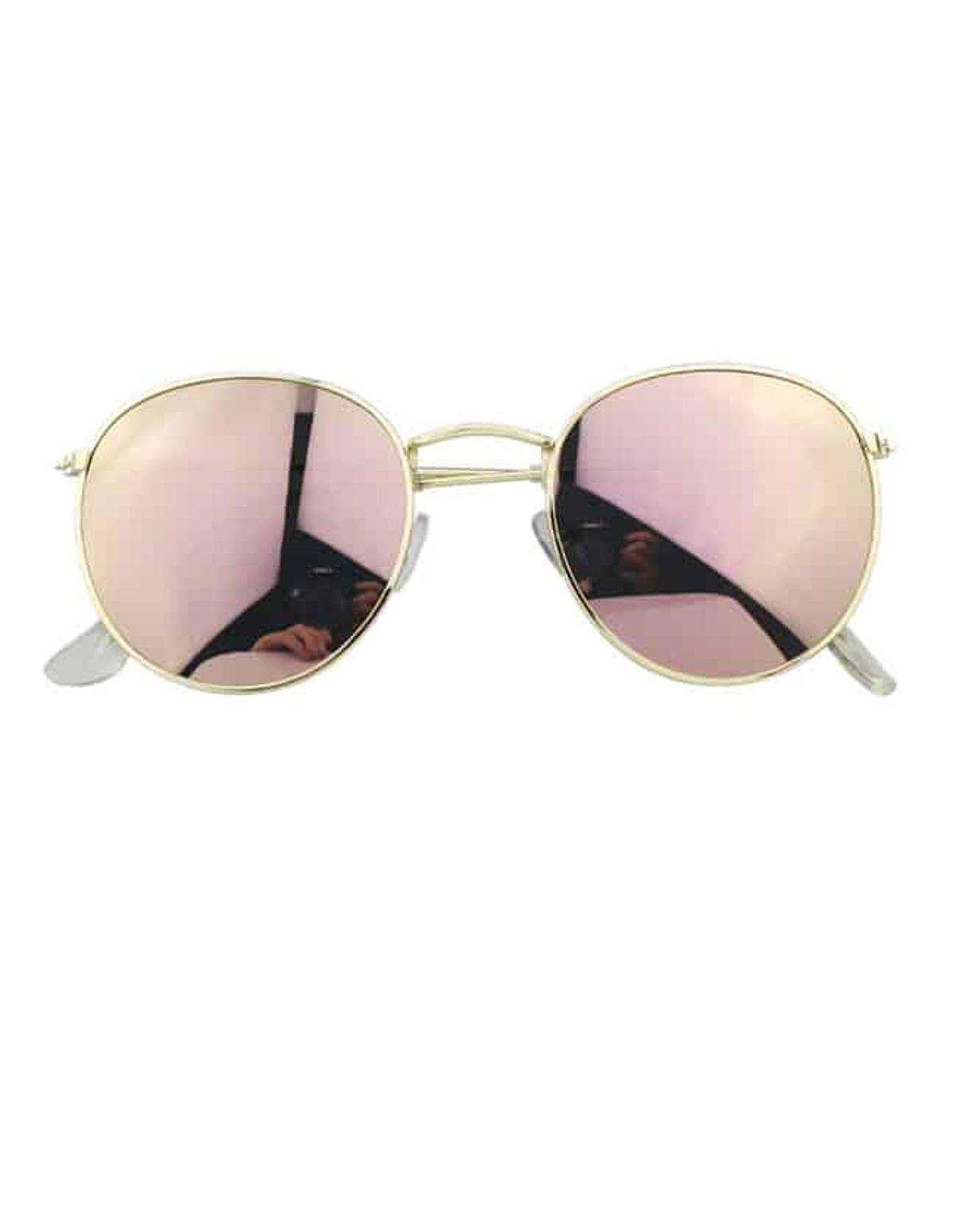 粉紅色 圓形的 過大的 太陽眼鏡