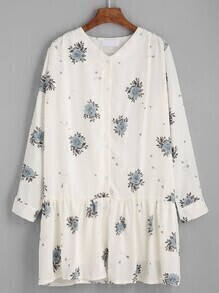 White V Neck Flower Print Shirt Dress