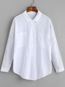 White Drop Shoulder Shirt