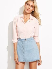 Light Pink Pointed Collar Curved Hem Blouse