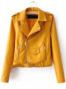 Veste en similicuir manche longue avec ceinture - jaune