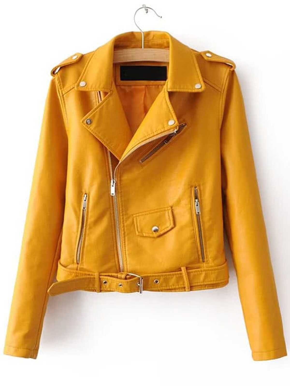 黃色  仿皮 腰帶 摩托車 外套 附有 拉鏈