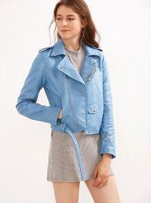 Moto Jacke Kunstleder mit Reißverschluss - blau