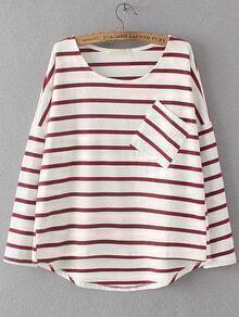 T-shirt trapèze à rayures avec poches - rouge