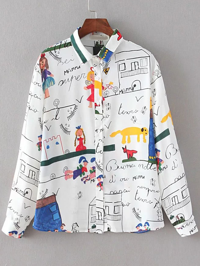 White Cartoon Print Buttons Front Blouse