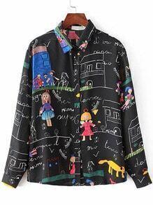 Blusa estampada con botones - negro