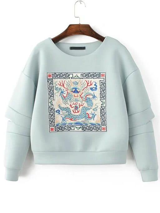 Light Blue Embroidered Drop Shoulder Cut Sweatshirt