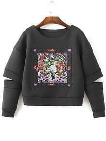 Buy Black Embroidered Drop Shoulder Cut Sweatshirt