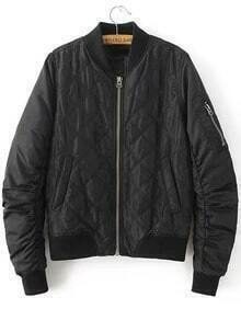 Black Quilted Padded Bomber Jacket With Zipper