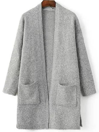 Light Grey Marled Knit Split Side Longline Sweater Coat With Pocket