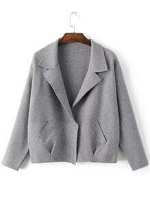 Dark Grey Shawl Collar Hidden Button Sweater Coat