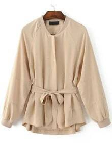 Apricot Raglan Sleeve Self Tie Embroidery Patch Coat
