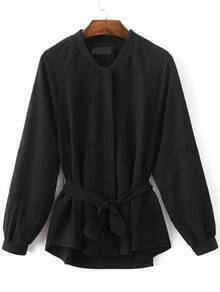 Black Raglan Sleeve Self Tie Embroidery Patch Coat