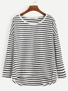 Black White Striped Drop Shoulder Dip Hem T-shirt