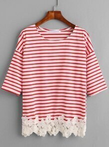 Red Striped Flower Applique Trim T-shirt