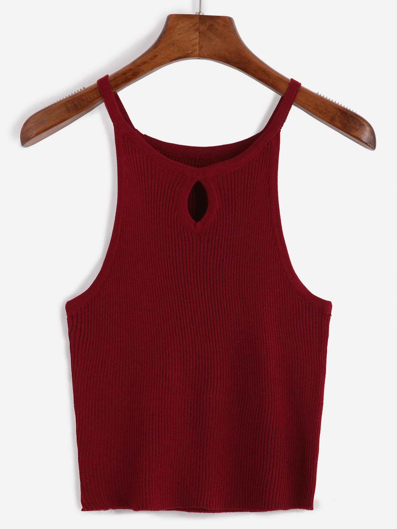 Burgundy Ribbed Keyhole Cami Top
