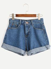 Blue Cuffed Denim Shorts