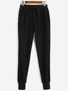 Black Drawstring Waist Pants
