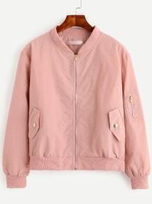 Pink Zip Front Bomber Jacket