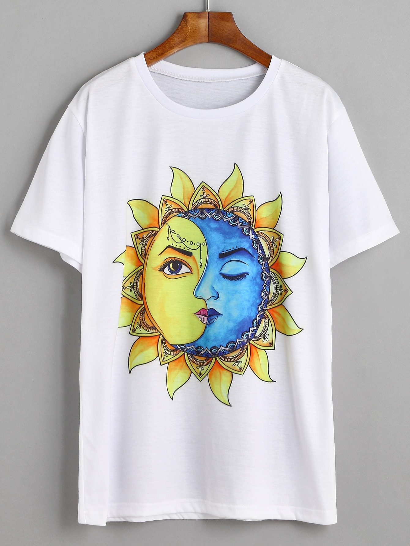White Sun And Moon Graphic Print T Shirt