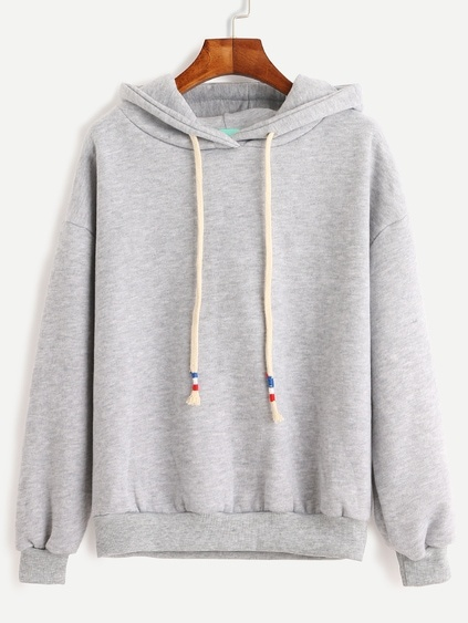 Grey Drop Shoulder Drawstring Hooded Sweatshirt