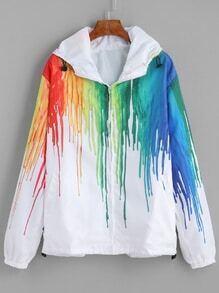 White Splash Print Long Sleeve Hooded Jacket