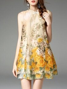 Apricot Collar Flowers Print Shift Dress
