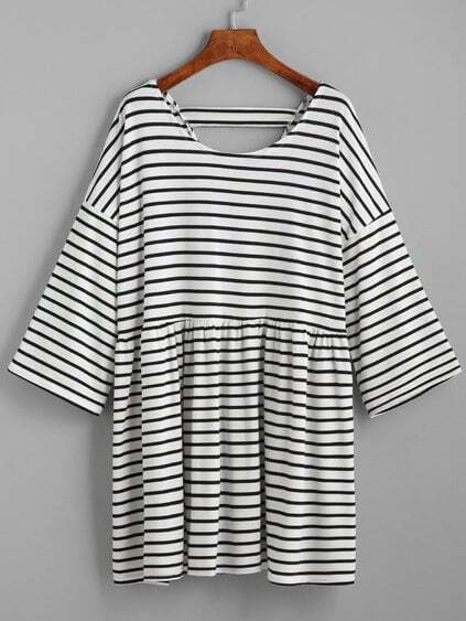 White Striped Drop Shoulder Cut Out Dress