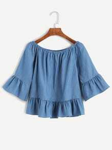 Blue Boat Neck Ruffle Peplum Denim Top