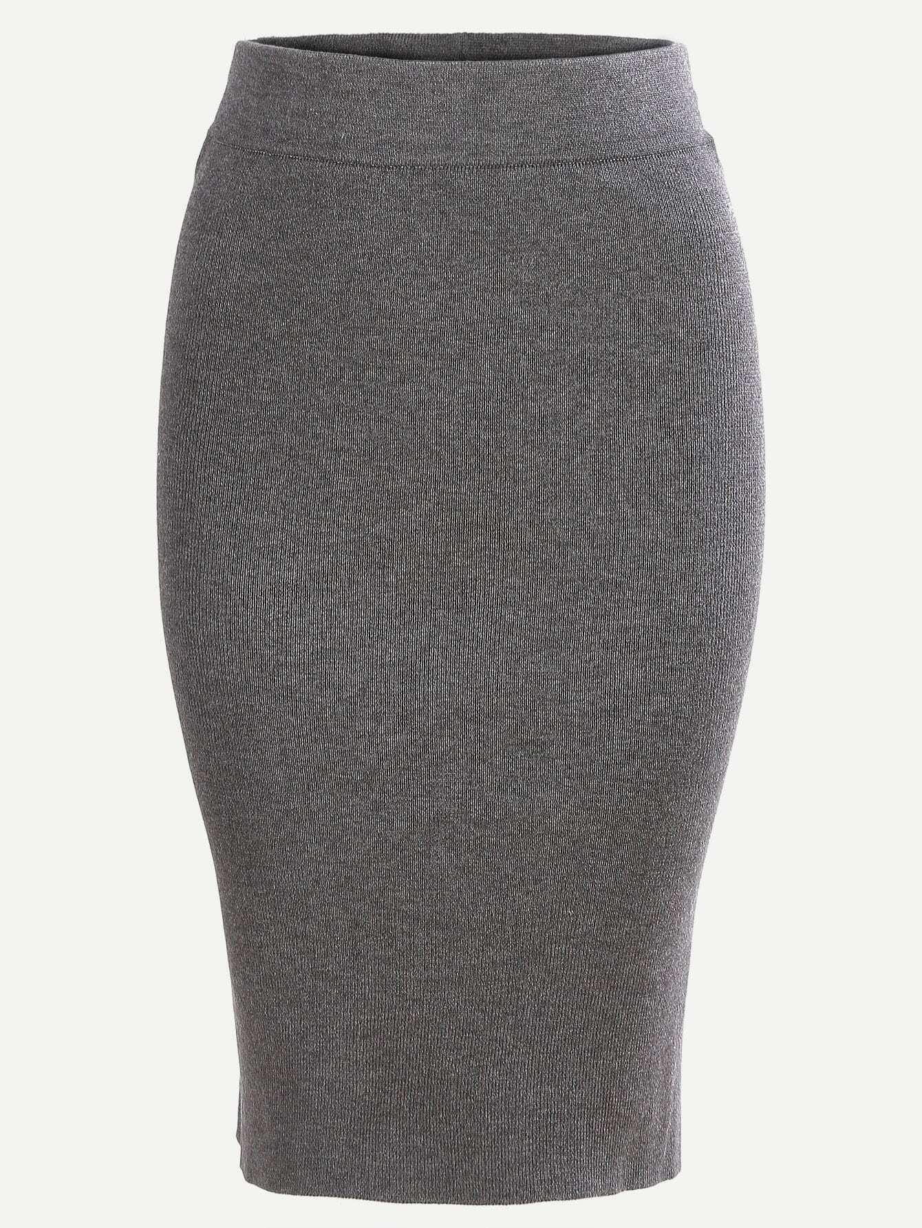 Grey Split Dual Pockets Knit Pencil Skirt