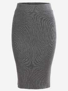 Grey Split Dual Pockets Knit Pencil Skirt