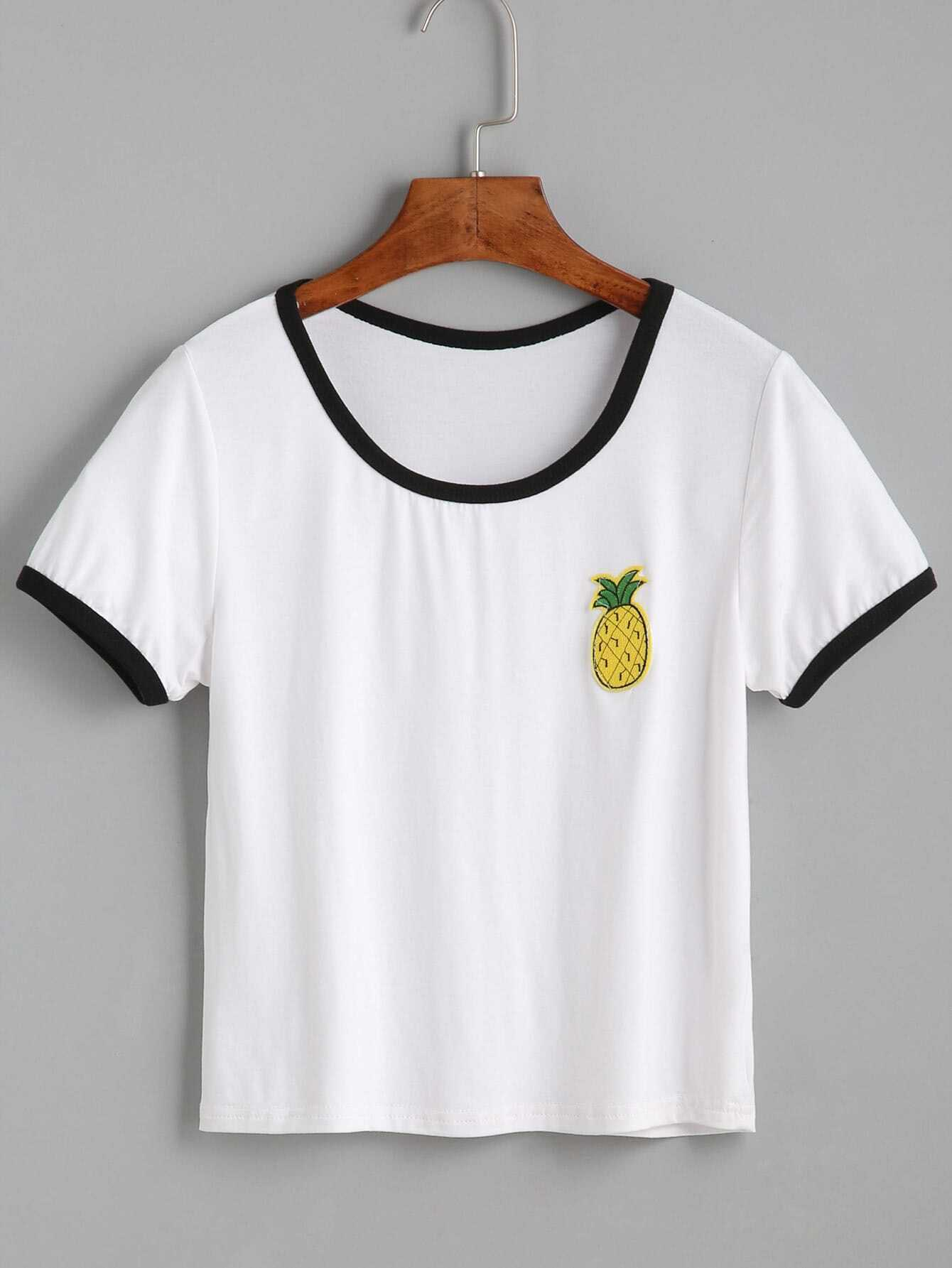 White contrast trim pineapple embroidered t shirtfor women