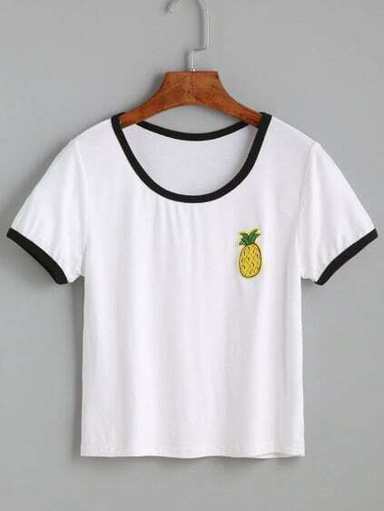 White Contrast Trim Pineapple Embroidered T-shirt